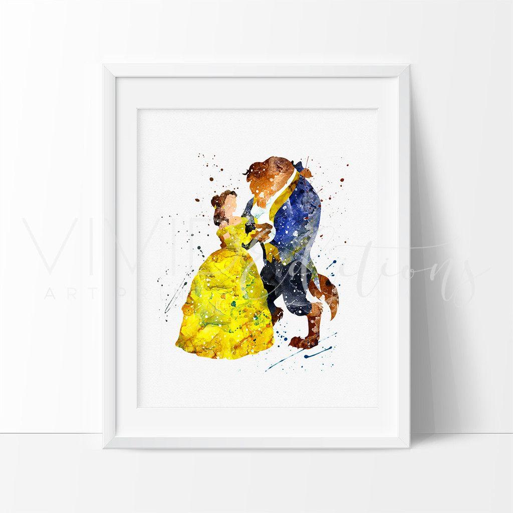 Beauty and the Beast 3 Watercolor Art Print | Pinterest | Die Schöne ...