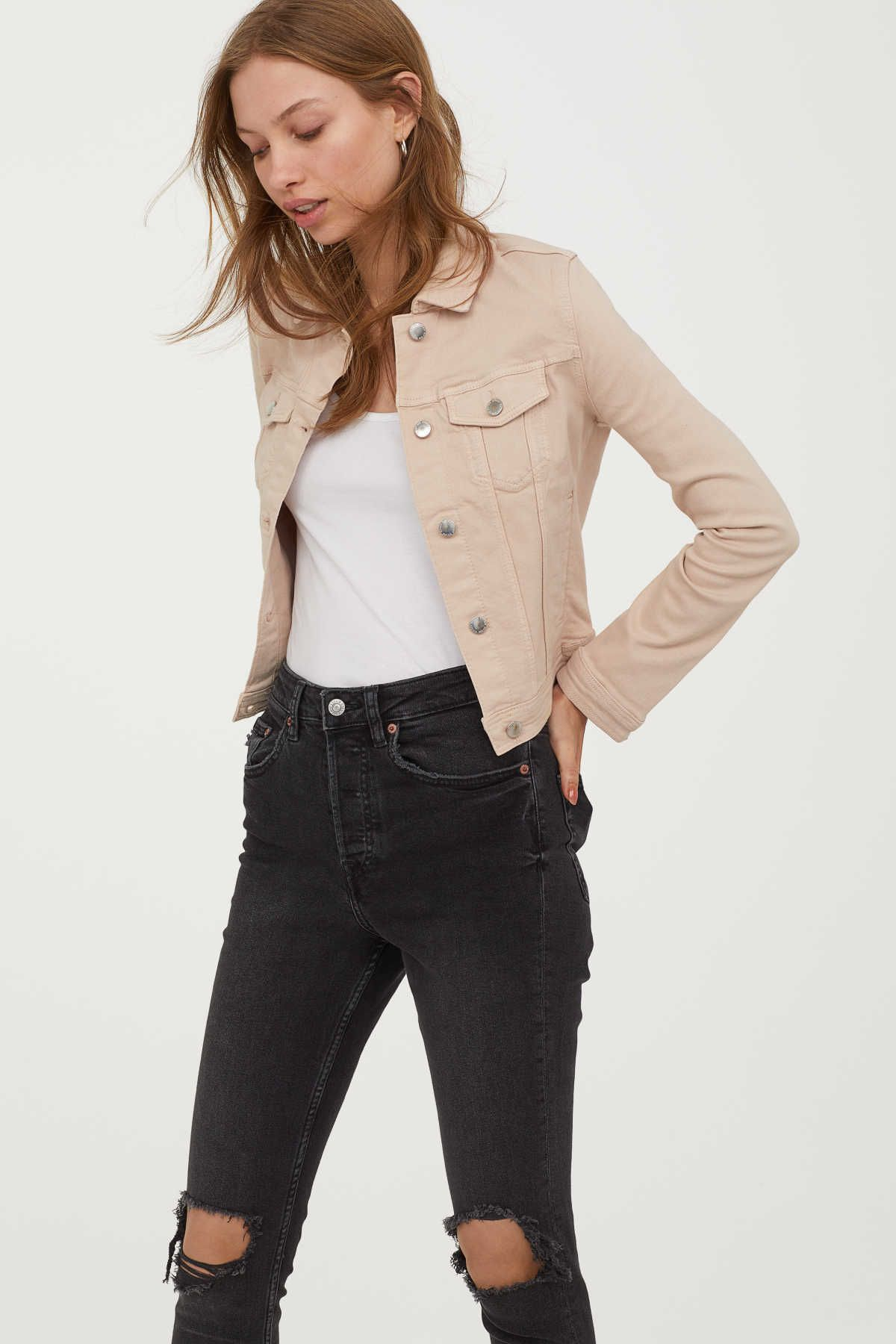 Light Beige Jacket In Washed Denim Collar Buttons At Front And At Cuffs And Adjustable Tab At Sides In 2021 Denim Jacket Women Beige Jacket Denim Jacket With Dress [ 1800 x 1200 Pixel ]