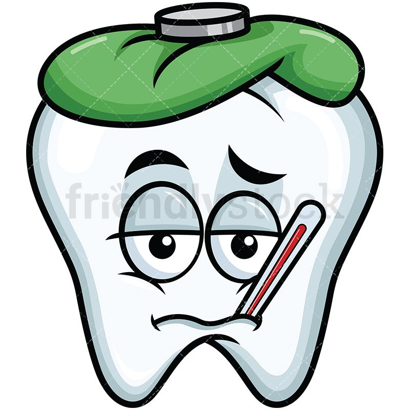 Feverish Sick Tooth Emoji Cartoon Vector Clipart
