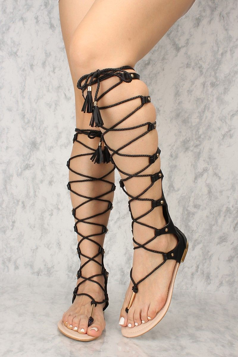 ac50ab7c7520 Sexy Black Lace Up Gladiator Sandals in 2019