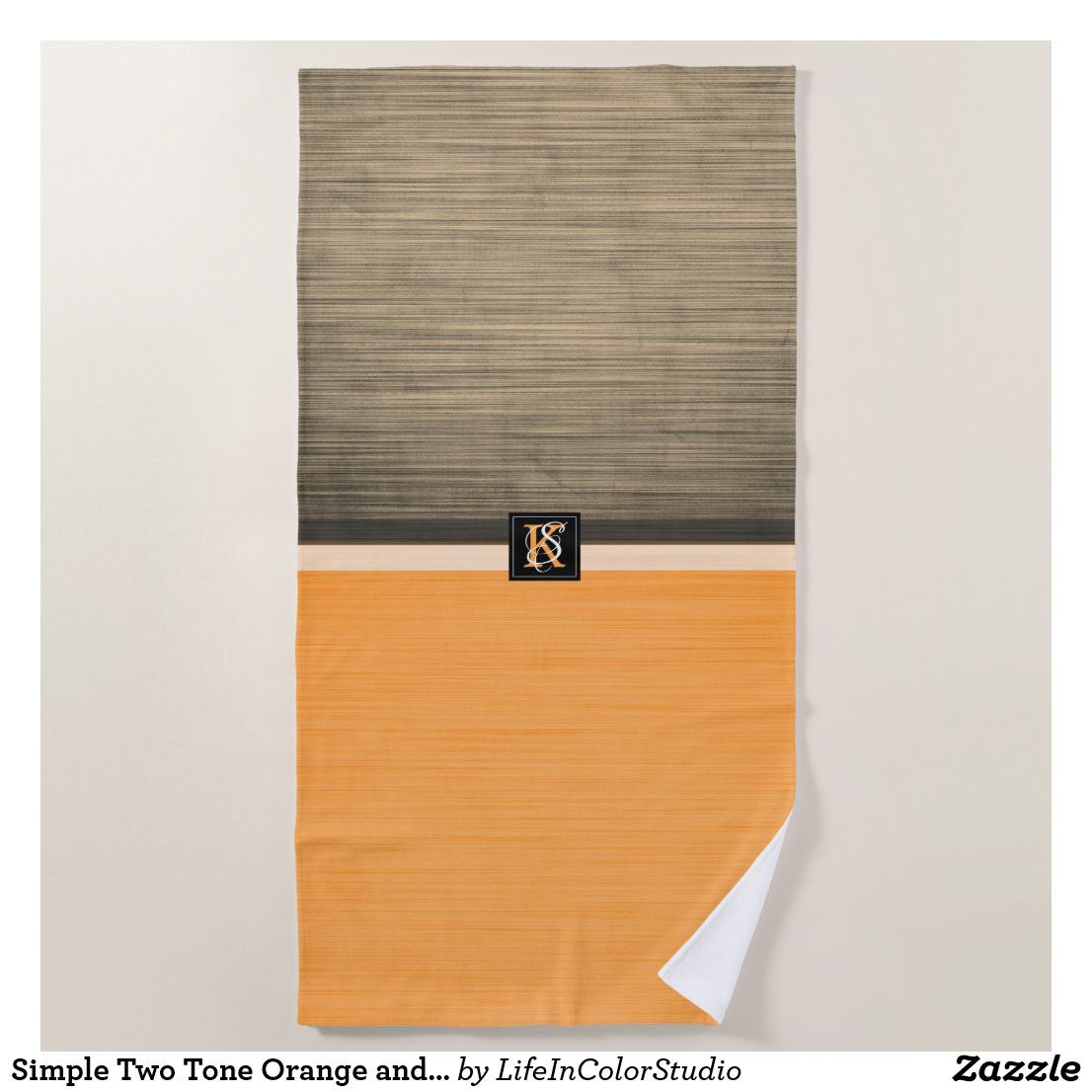 Simple Two Tone Orange And Sepia Initials Monogram Beach Towel