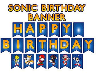 Sonic The Hedgehog Inspired Digital Birthday Banner Sonic Party Sonic Birthday Sonic Birthday Parties