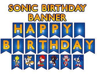 Sonic The HedgehogTM Inspired Digital Birthday Banner