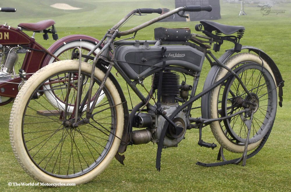 1914 Iver Johnson Motocycle. See how thew tank looks like a pistol grip? They were actually a firearms manufacturer foremost. These bikes can run into six figures now...