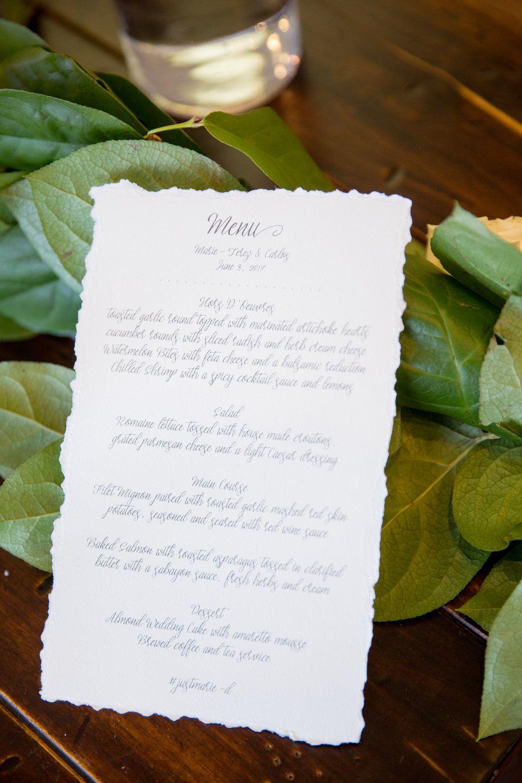 Hand Torn Linen Wedding Menus wwwandreaeppolitoeventscom Las