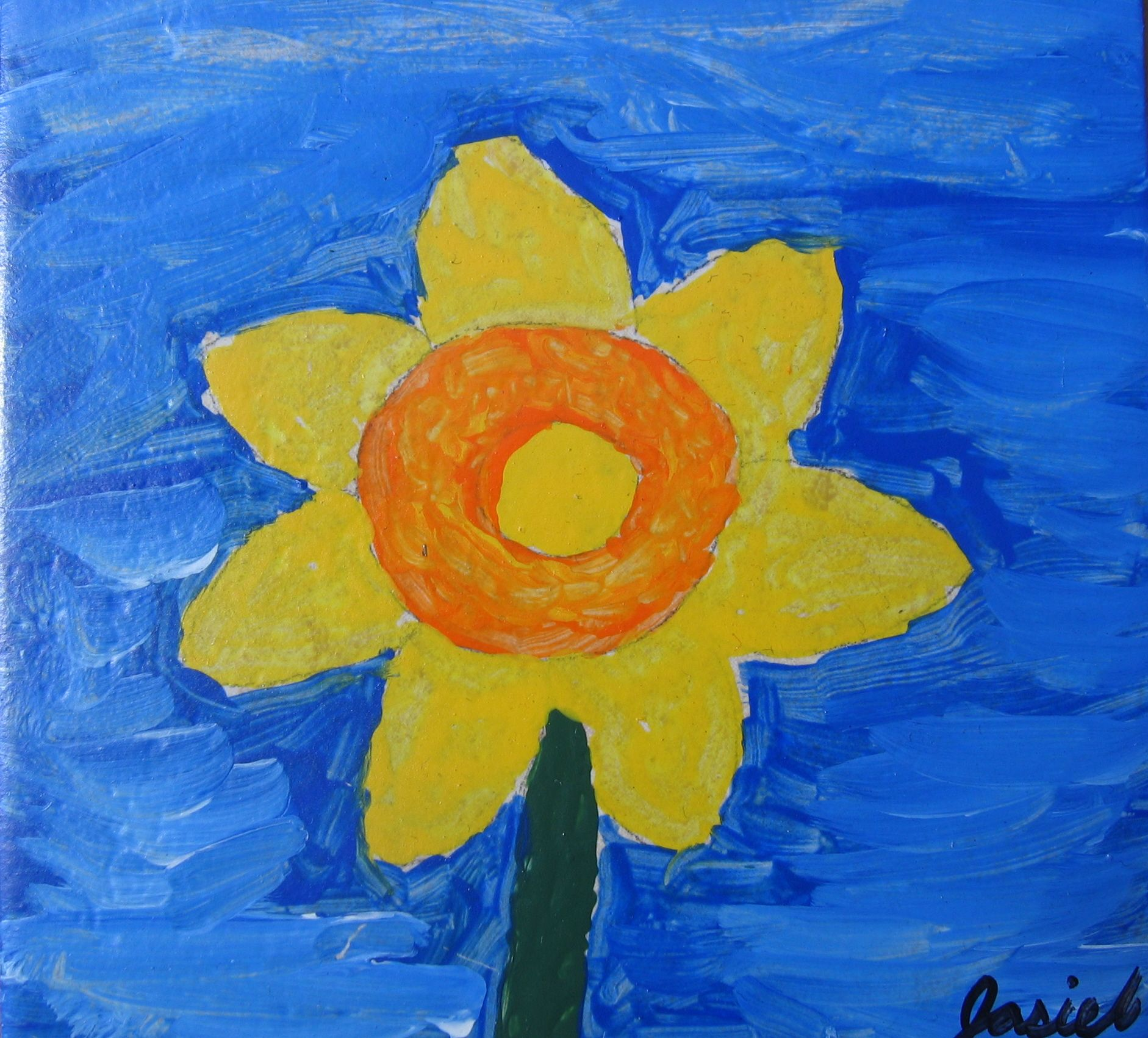 Kids learn Van Gogh style sunflower painting on a keepsake tile - art class taught by Jennifer Holmes