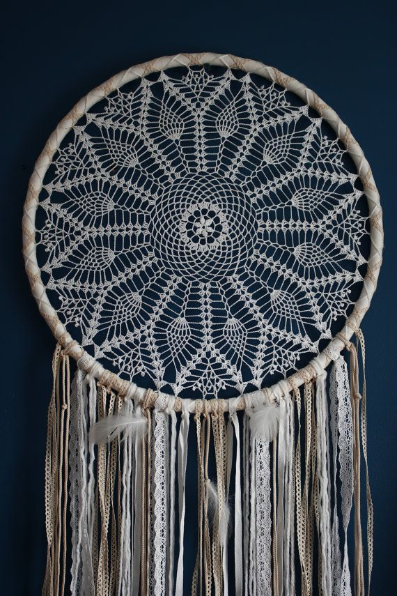 IN STOCK! Large crochet dreamcatcher, giant dreamcatcher, white and ...
