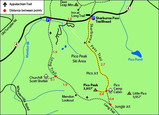 hiking trail map pico peak mountain vermont vt sherburne pass trail ...