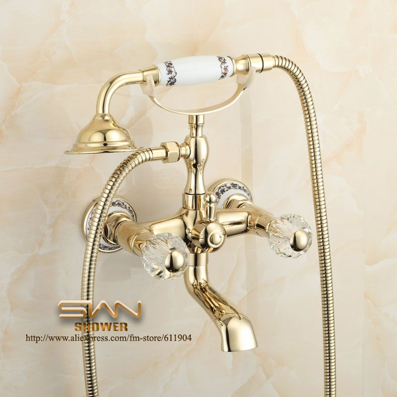 Luxury Gold Color Bathroom Clawfoot Bathtub Faucet Pattern Ceramic Handheld  Shower Faucet Mixer Tap 1107003B