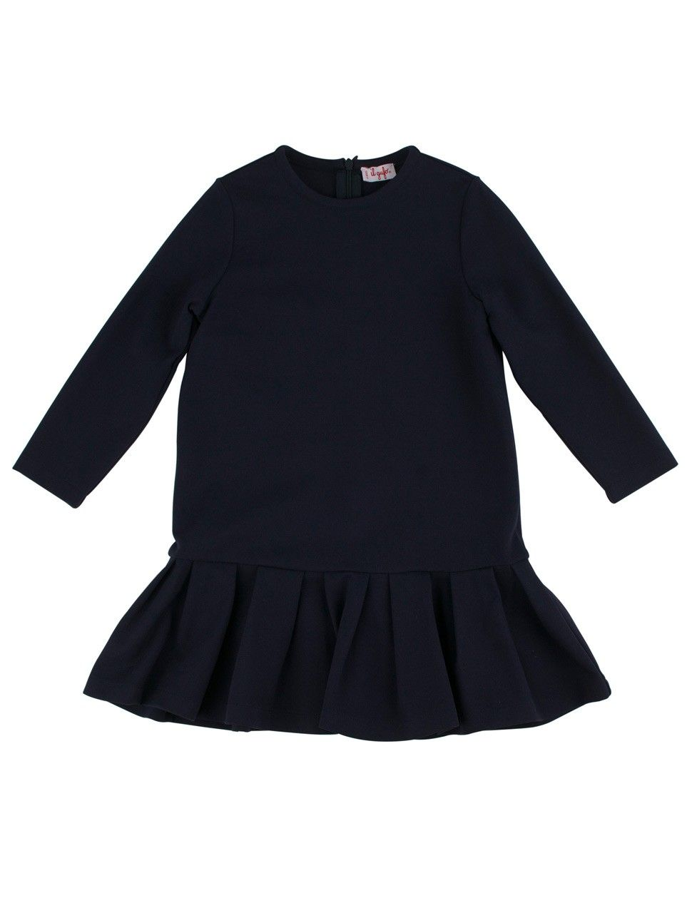 98badb5c65e78 Jersey dress in navy blue with pleated skirt from Il Gufo | little ...