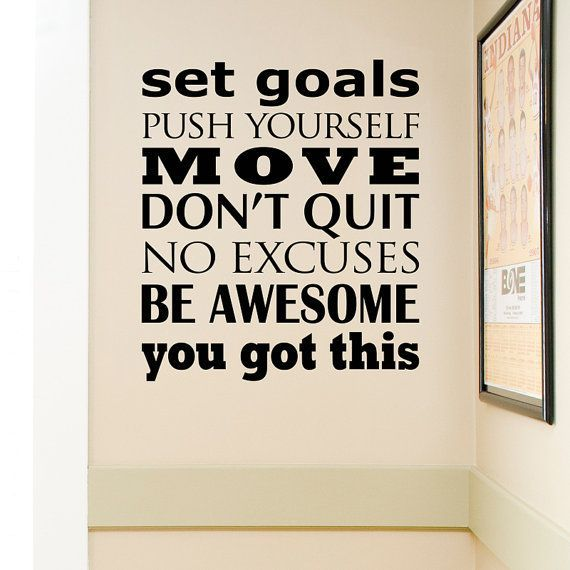 Fitness Wall decal - Subway art vinyl decal - Set goals - Push yourself - exercise decal - fitness m...