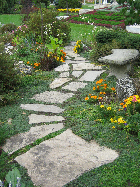 rock pathway large backyard landscaping