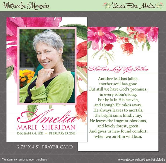 Funeral Memorial Bookmark and Prayer Card Printable Watercolor – Funeral Invitation Cards