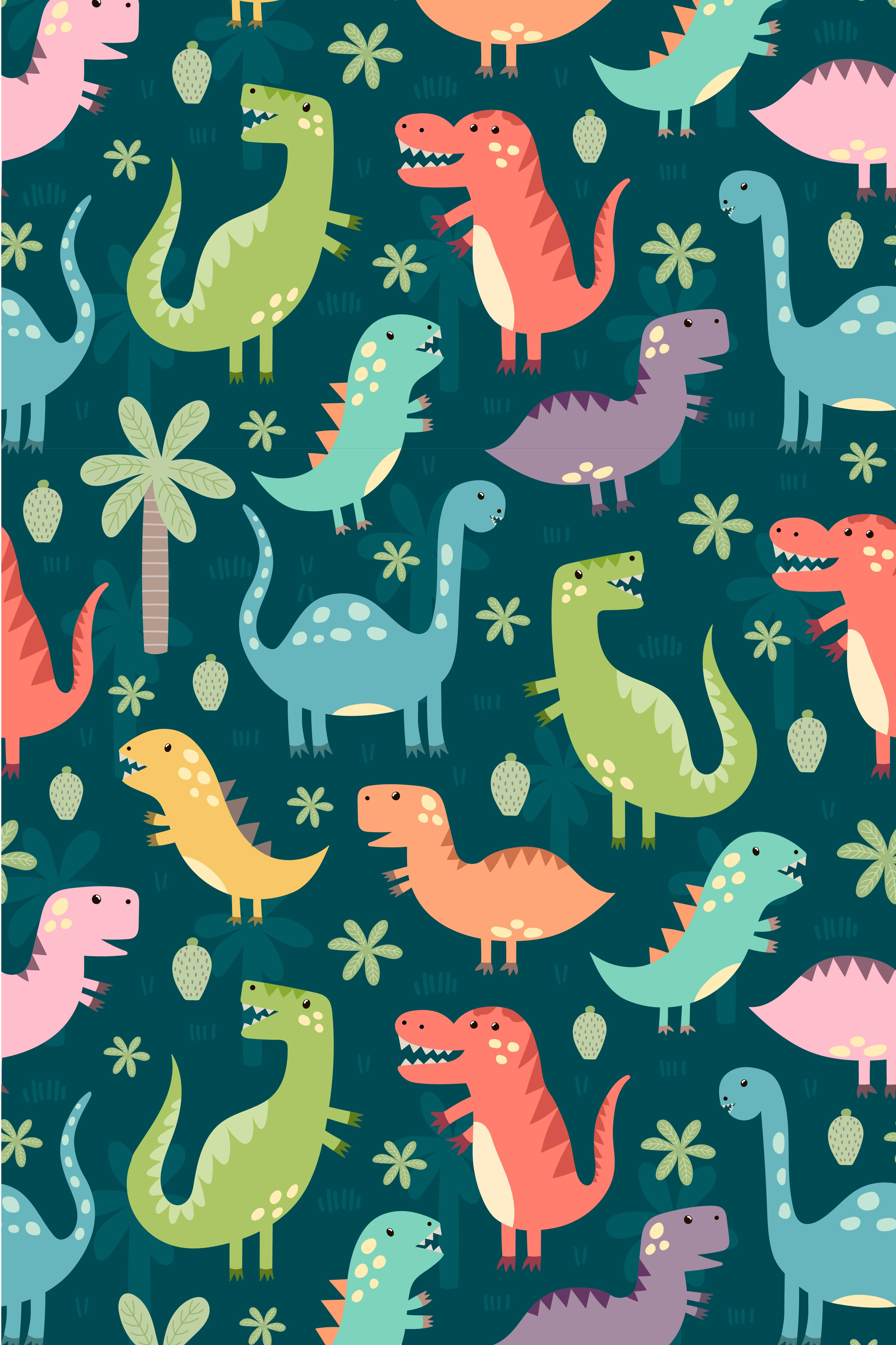 Cute dinosaurs illustration. Funny dinos art for kids. Nursery print