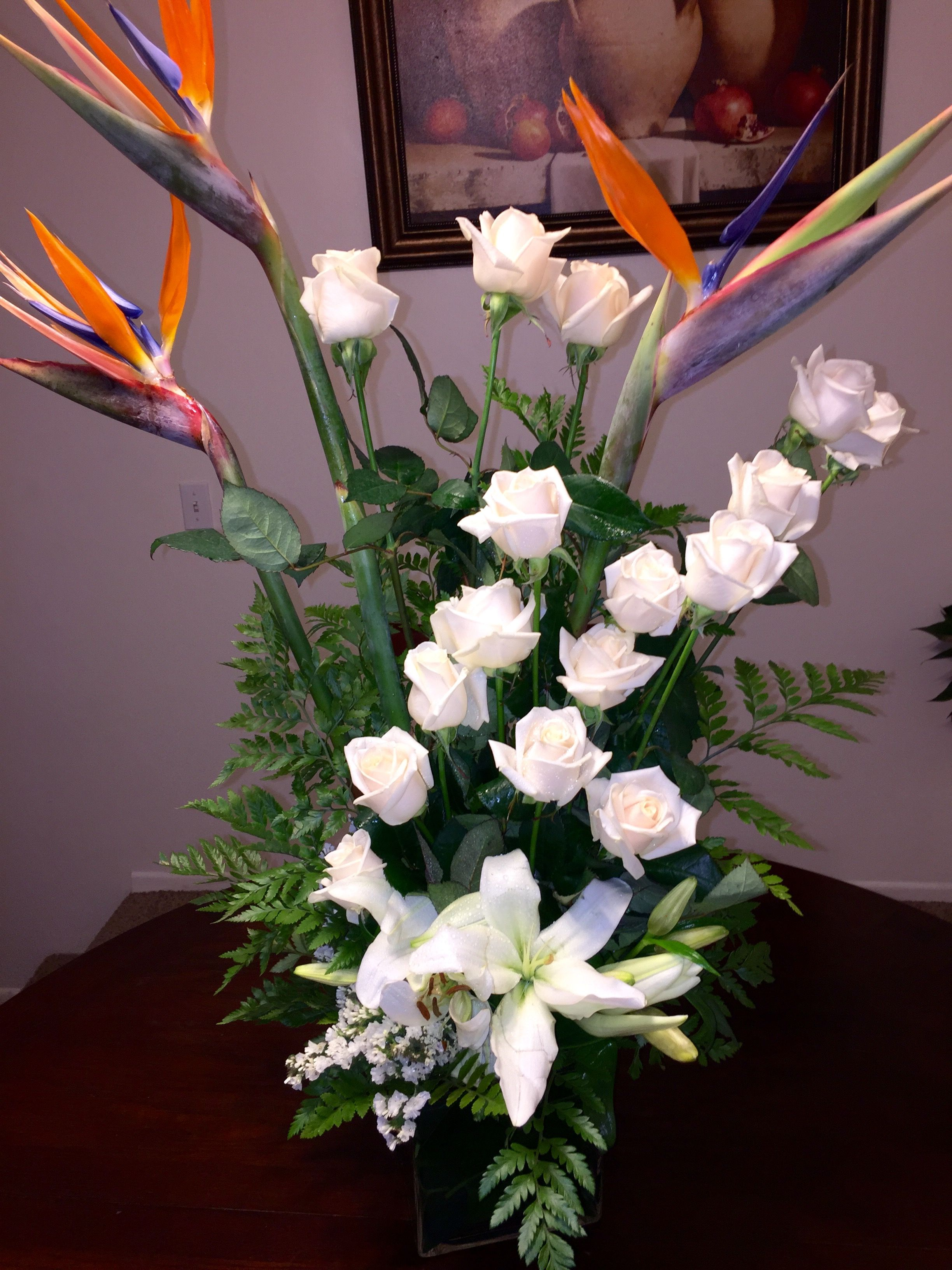 White Flower Arrangement With Bird Of Paradise And White Roses