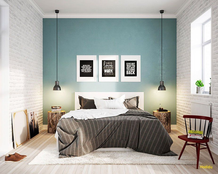 A fantastic blue accent wall boosts this