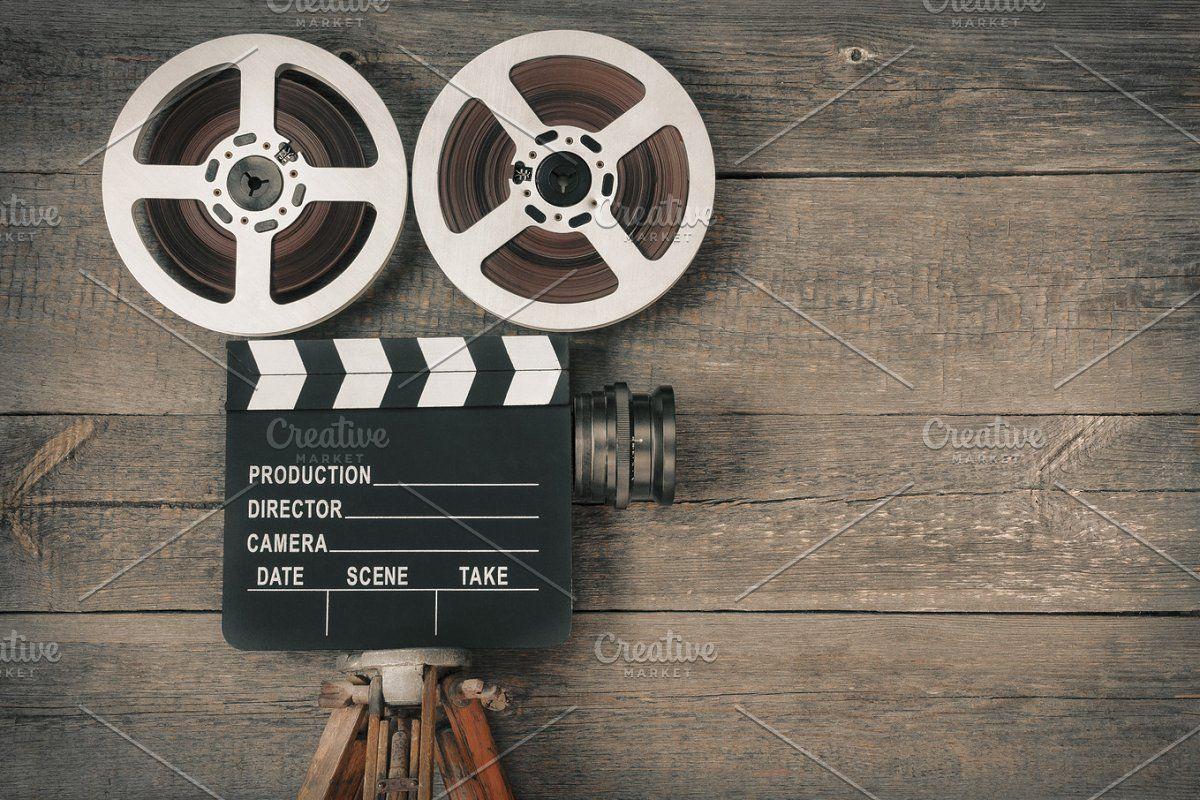 Old movie camera , Aff, consistingtripodmoviecamera