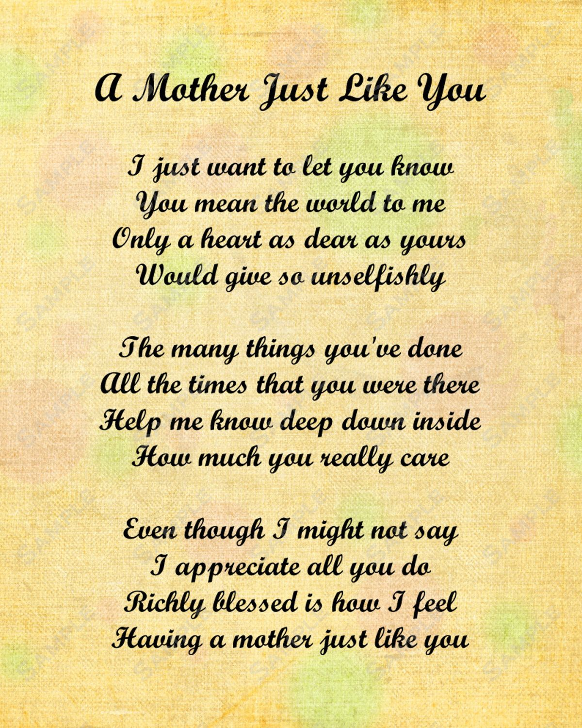 Mother Just Like You Love Poem For Mom 8 X 10 By Queenofheartgifts