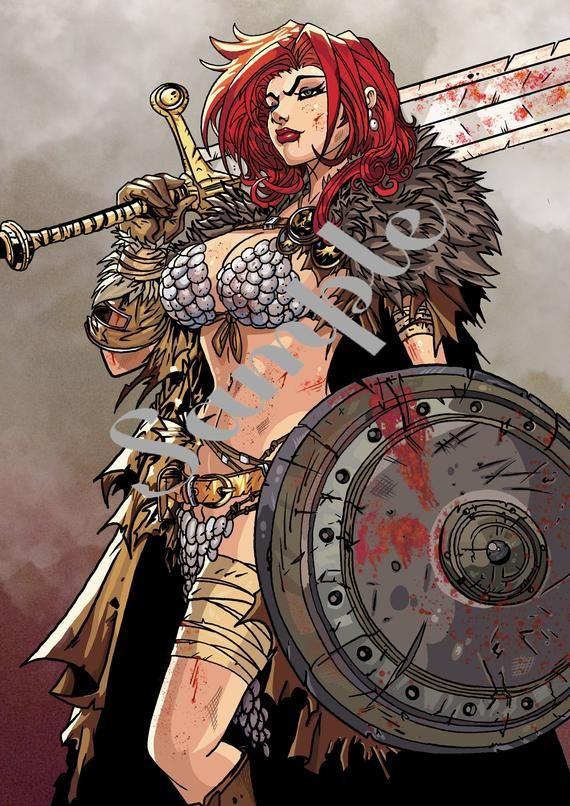 Warrior Print Red Sonja Variant Art Adaptation Wall Art Etsy In 2020 Red Sonja Art Fantasy Art
