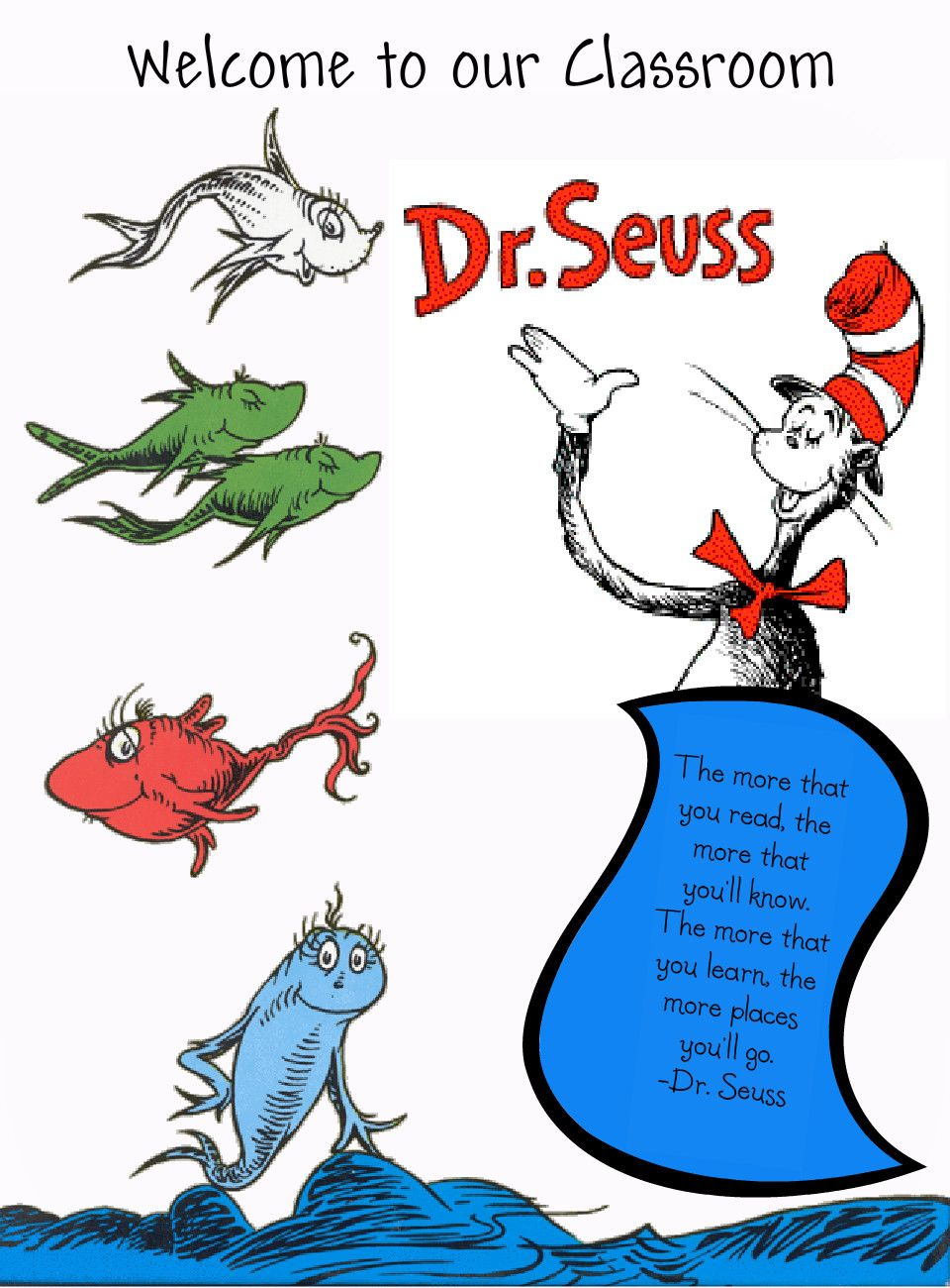 Free Coloring Pages Download One Fish Two Red Blue Printables Dr Seuss