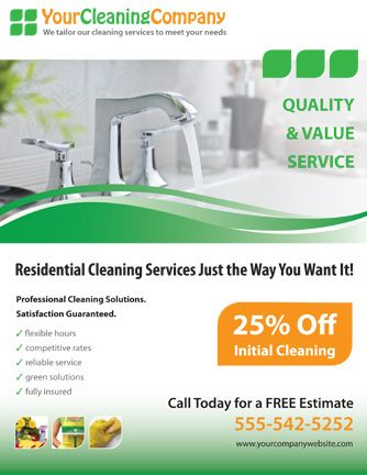 Promote your cleaning company with this house cleaning services - fact sheet template