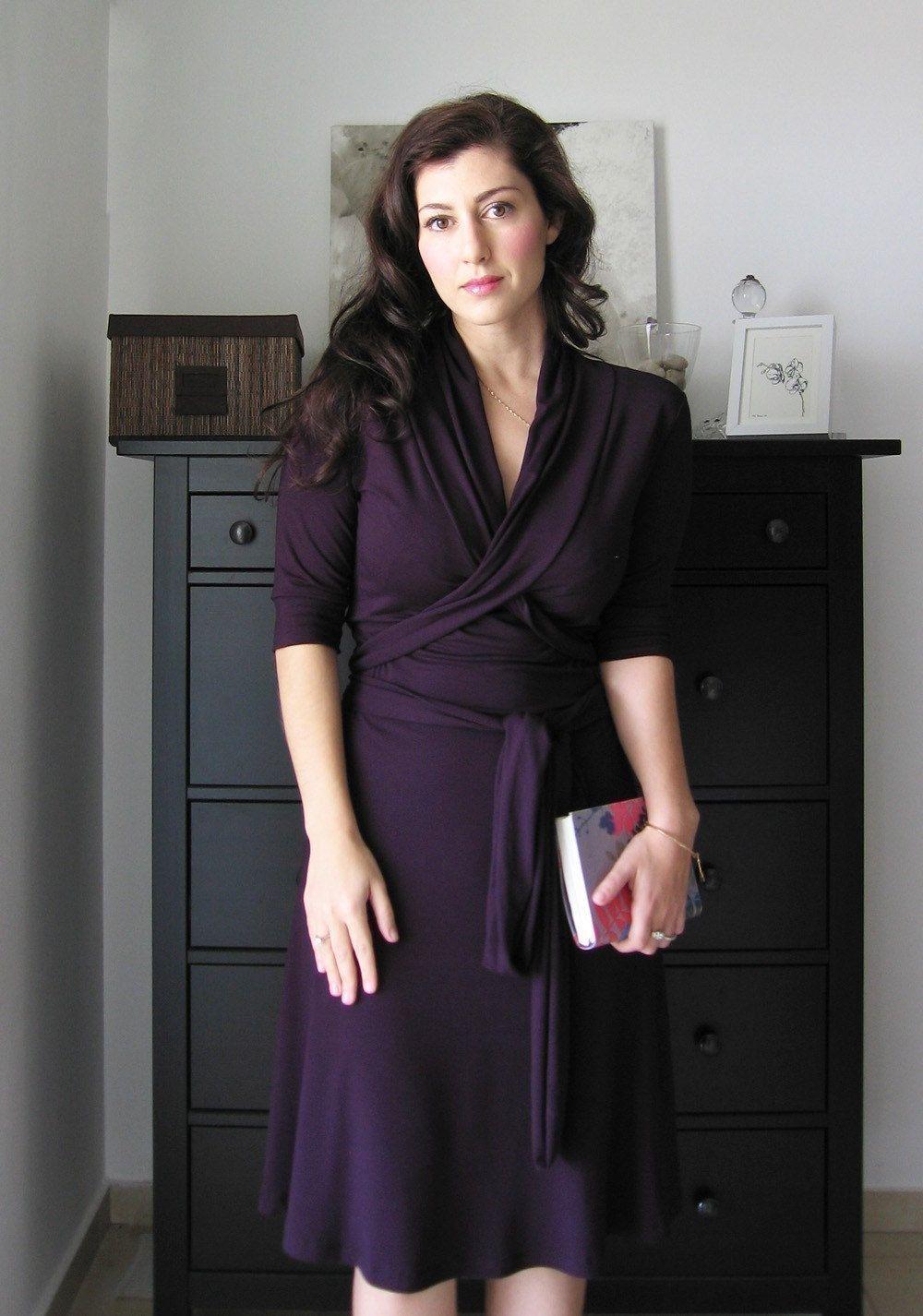 Jersey wrap dress with shawl collar dark purple jersey dress dress