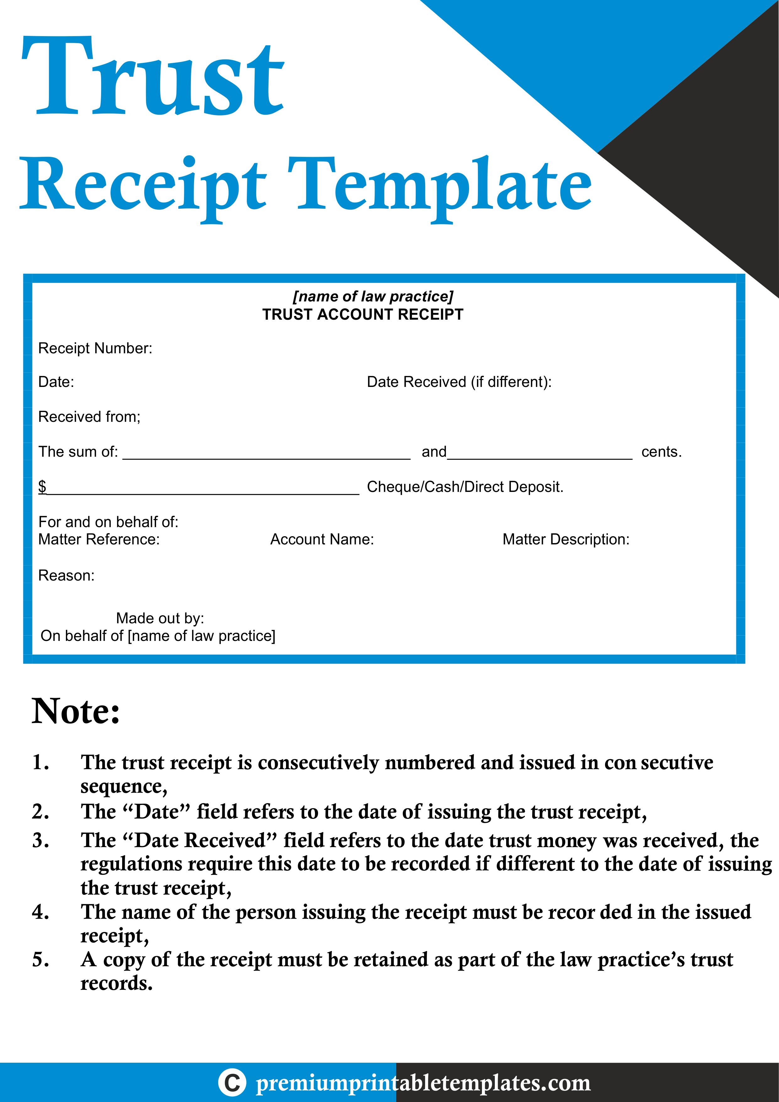 Trust Receipt Template Pack Of 5 Premium Printable Templates Receipt Template Template Printable Templates