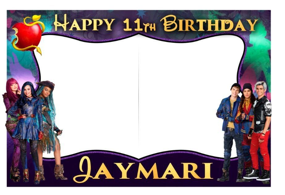 uma descendants photo birthday party booth frame prop in