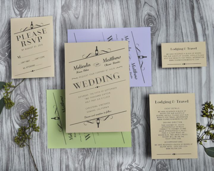 Charmant Vintage Winery Wedding Invitations For A Vineyard Or Rustic Wedding .