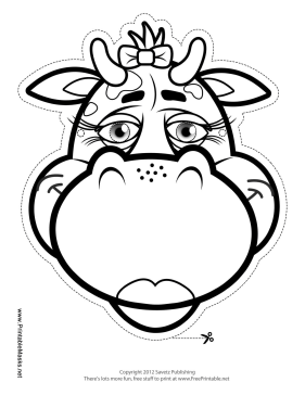 Cow with Bow Mask to Color Printable Mask, free to