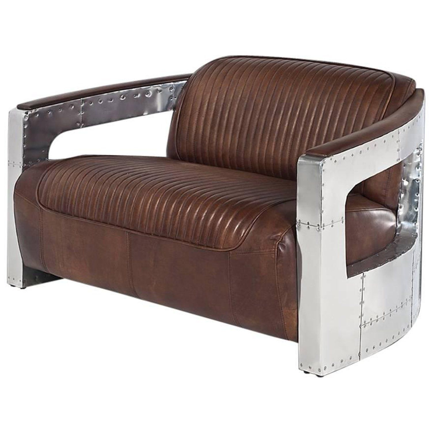 fc2b43308fc3 Aviator Riveted Sofa Two-Seat with Genuine Leather and Riveted Aluminium