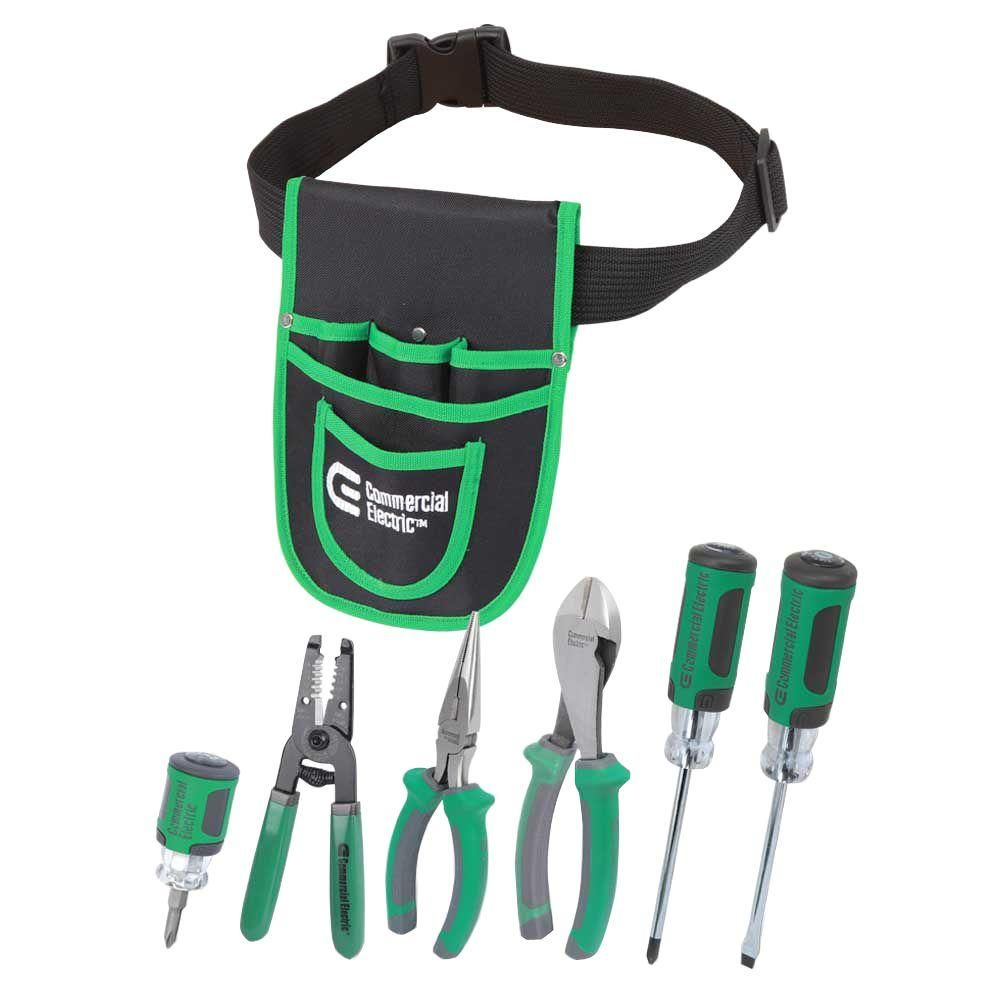 Photo of Commercial Electric 7-Piece Electrician's Tool Set with Pouch-CE180608 – The Home Depot
