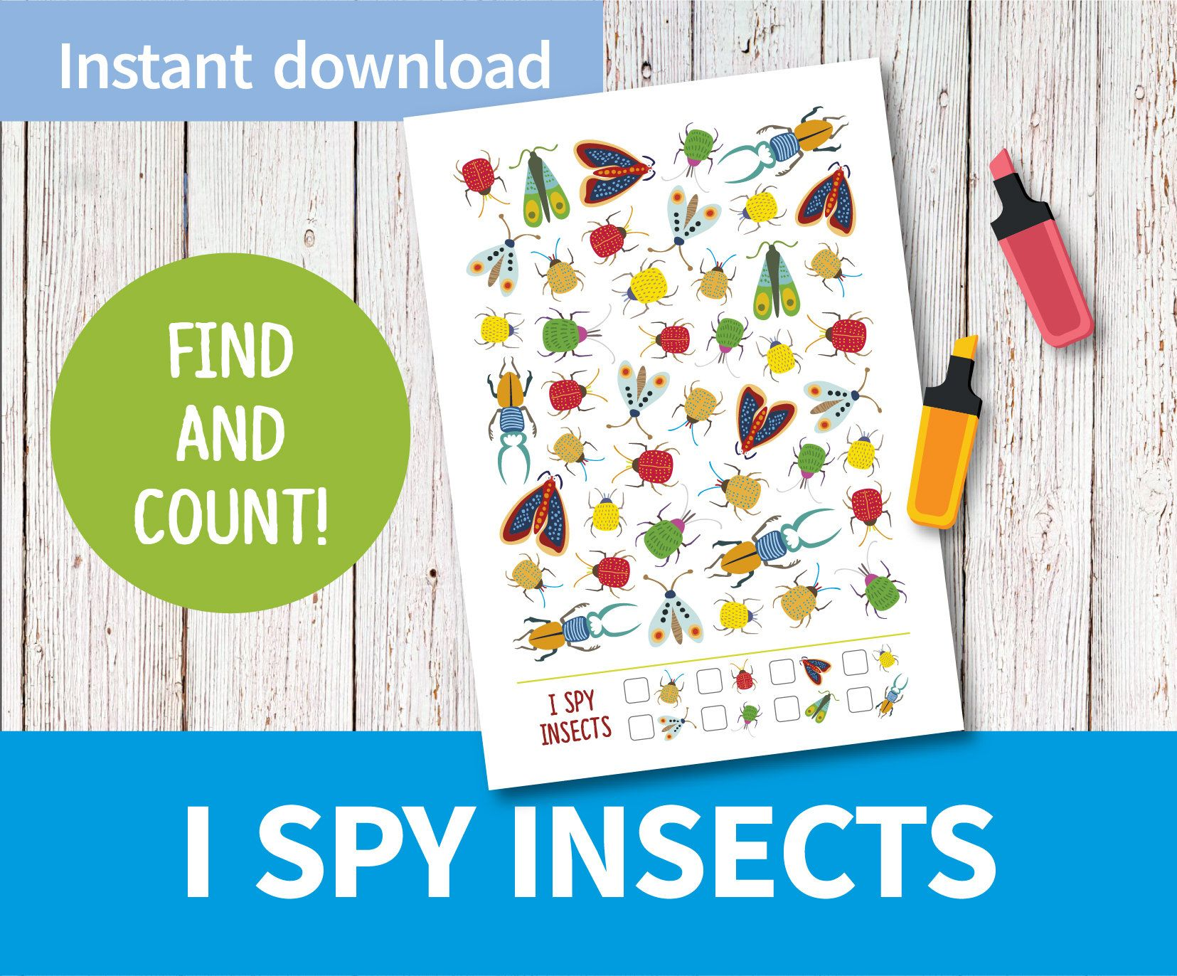 Printable Game I Spy Insects I Spy Game Exercise Kids