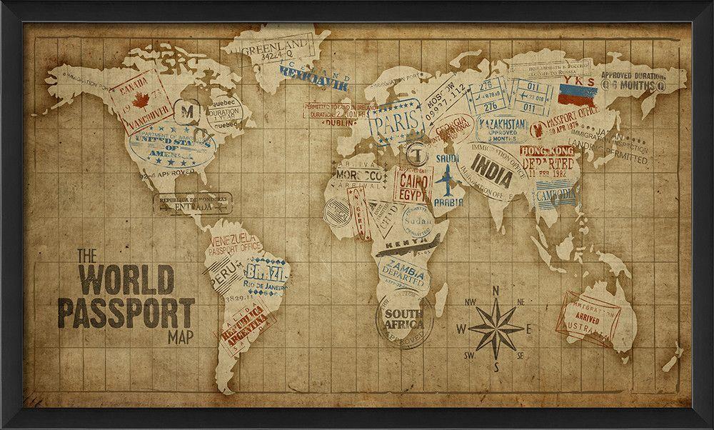 The World Passport Map Framed Graphic Art