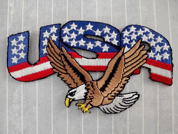 Bald Flying Eagle with American Flag Embroidered Iron on//Sew on Patches