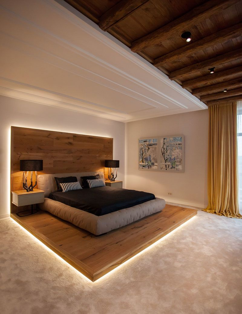 This modern chalet inspired bedroom features a raised