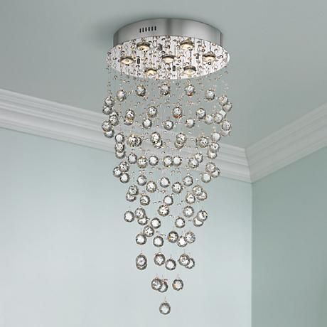 Aida 17 3 4 Wide Pouring Crystal Ceiling Light X9149 Lamps Plus
