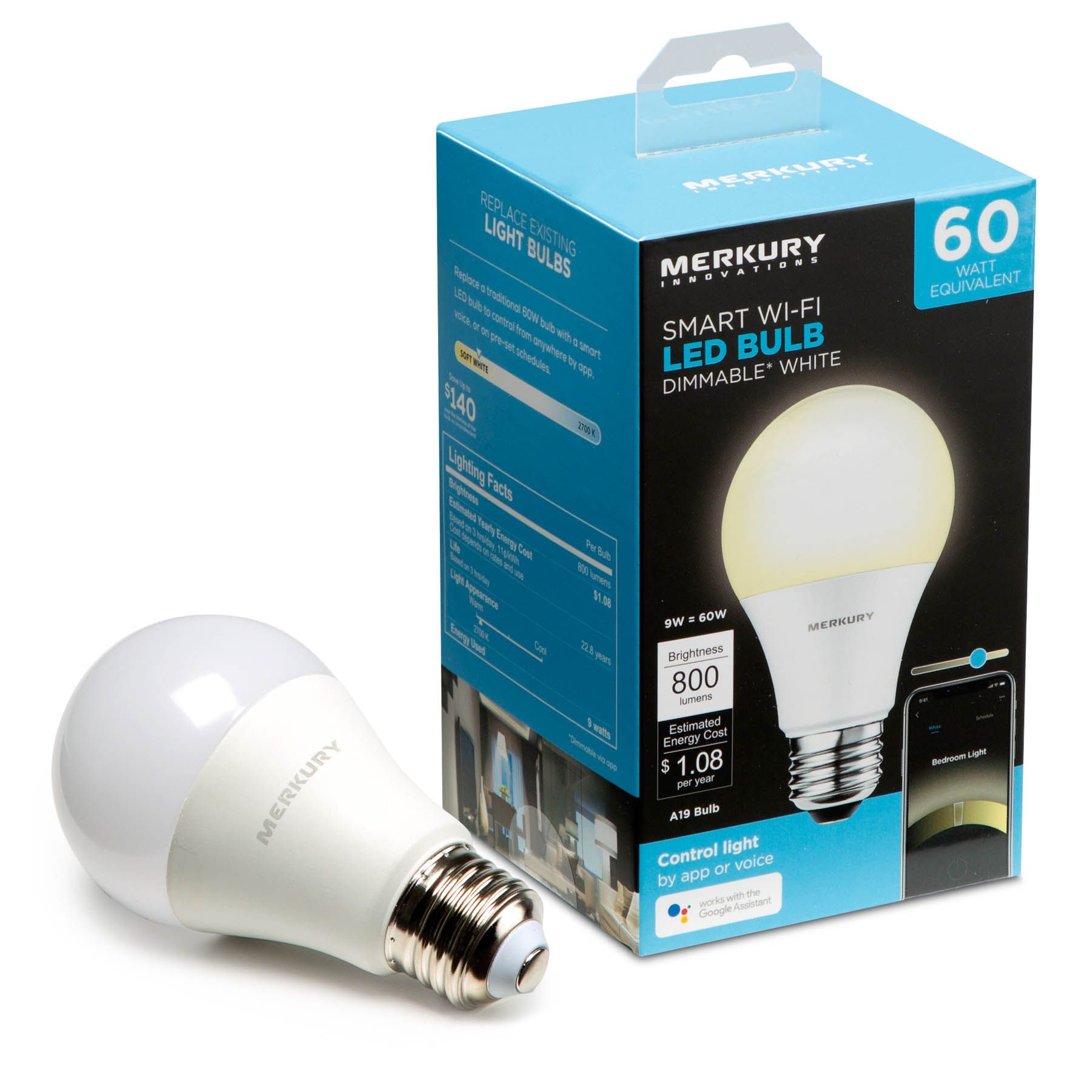 Merkury Innovations A19 Smart Light Bulb 60w Dimmable White Led Requires 2 4ghz Wifi 1 Pack Walmart Com Smart Light Bulbs Smart Lighting Light Bulb