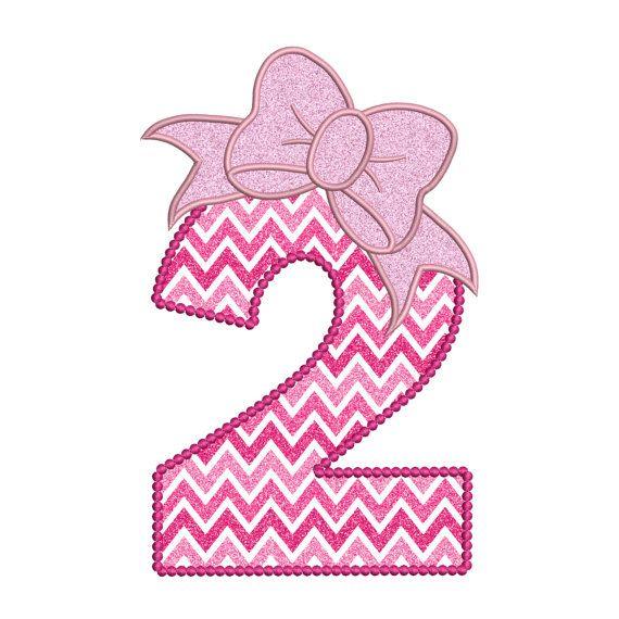 1daab1651 2 Birthday Applique Cute Bow 2nd Number Instant Digital Download Stitch  Design - 0126