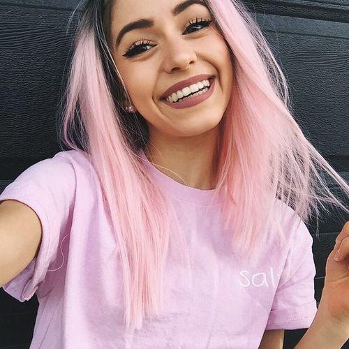 Cotton Candy Pink Pastel Hair Color Shoulder Length Long