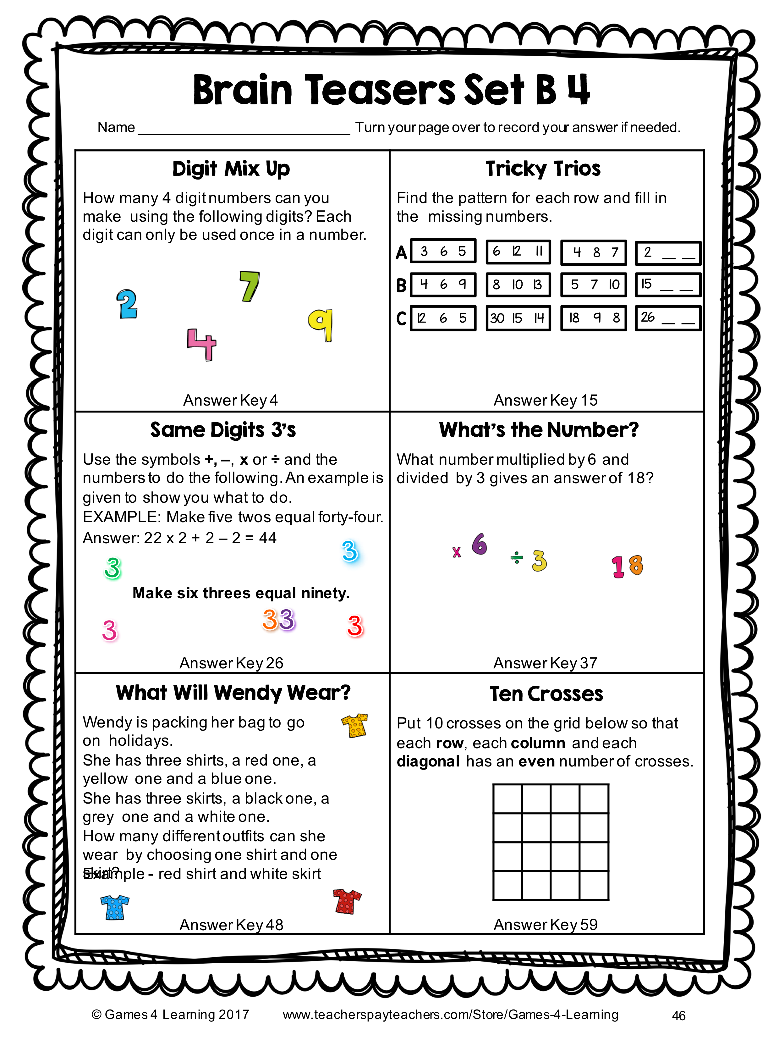 - Math Task Cards: Math Problems And Math Brain Teasers Cards Set B