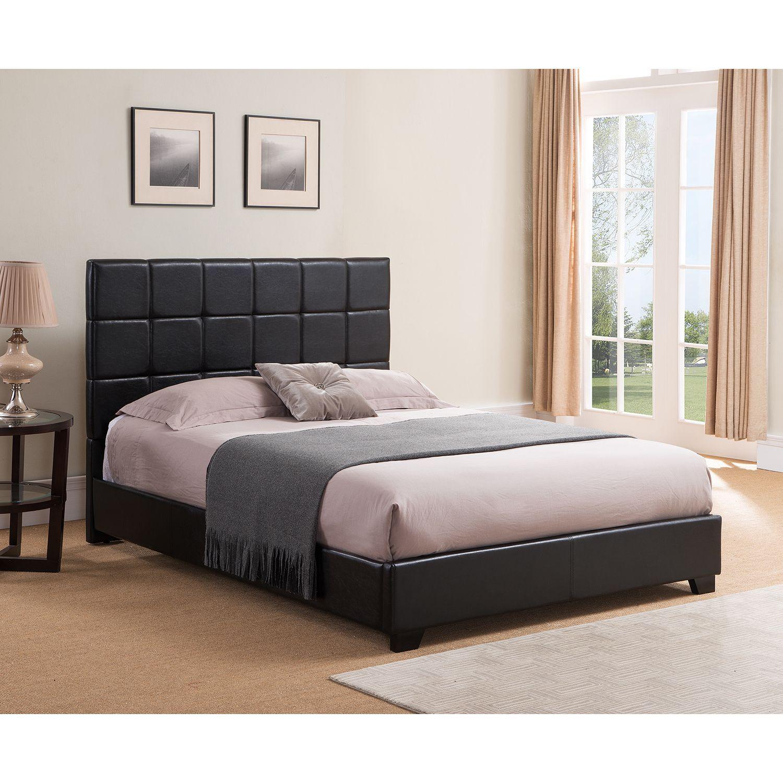 Mantua Kenora King Black Platform Bed (king, black faux leather ...