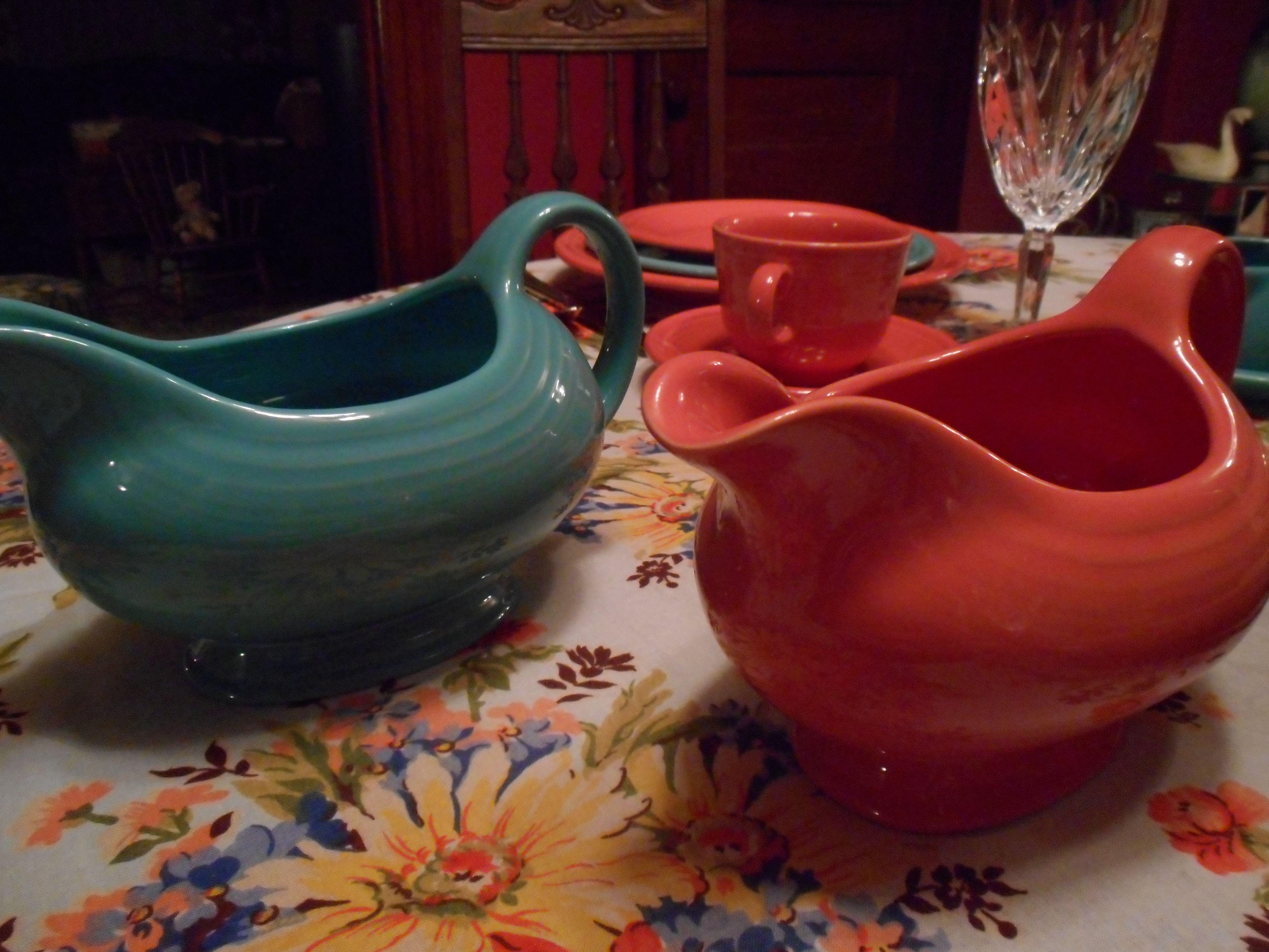 turquoise and flamingo gravy boats & turquoise and flamingo gravy boats   My Fiesta Dinnerware ...