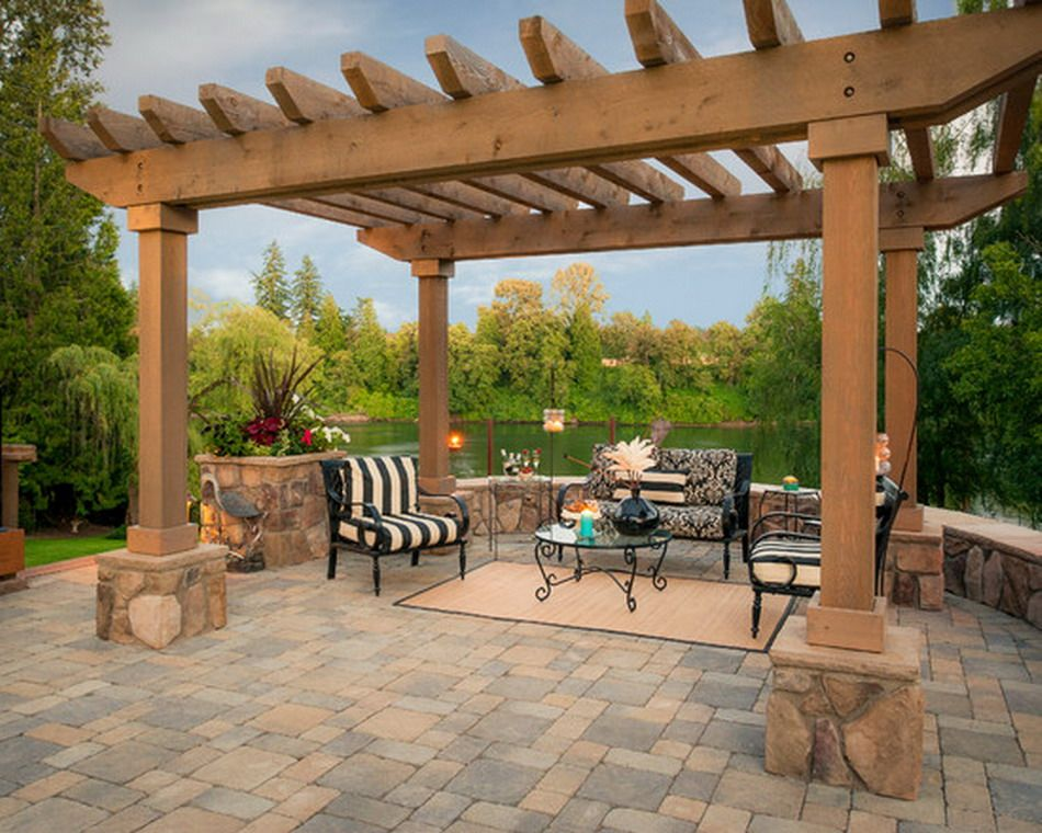 Backyard Traditional Outdoor Living Room with Concrete