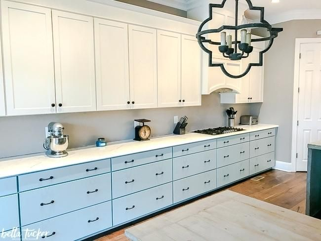 Charming Farmhouse Style Kitchen Cabinet Hardware Farmhouse Style Kitchen With Two  Color Blue And White Painted Cabinets
