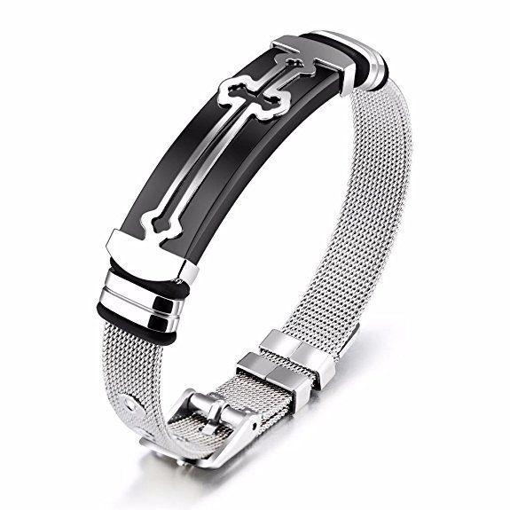 JRUI Jewelry Stainless Steel Bracelet for Mens Boys Religious Cross ...