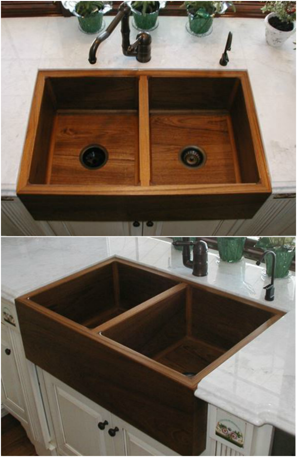 A gorgeous teak wood kitchen sink with