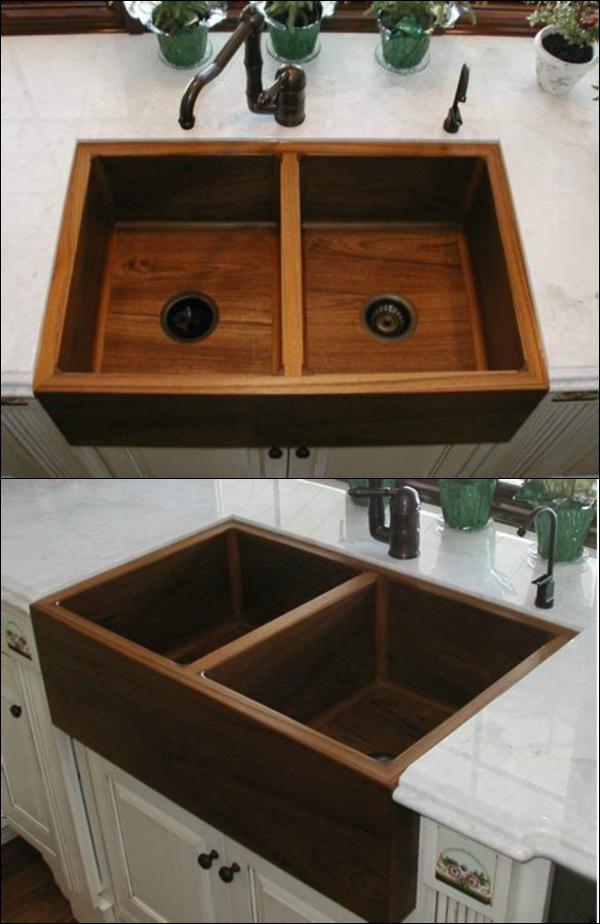 Teak Double Kitchen Sink Double Kitchen Sink Wood Sink Rustic