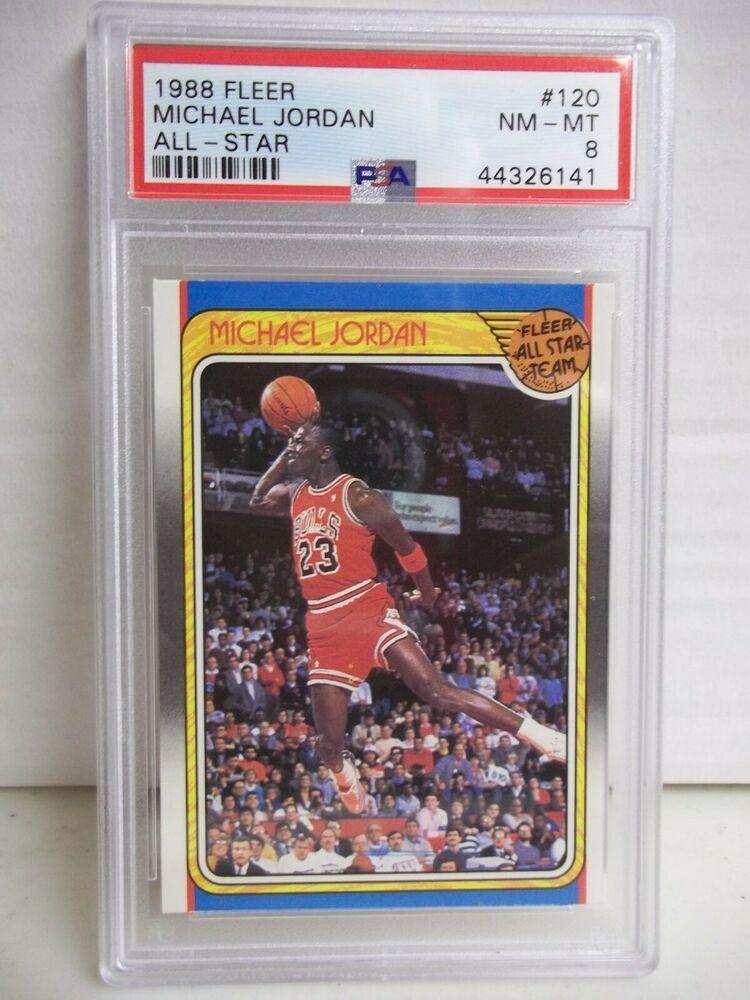 1988 fleer michael jordan allstar psa nmmt 8 basketball