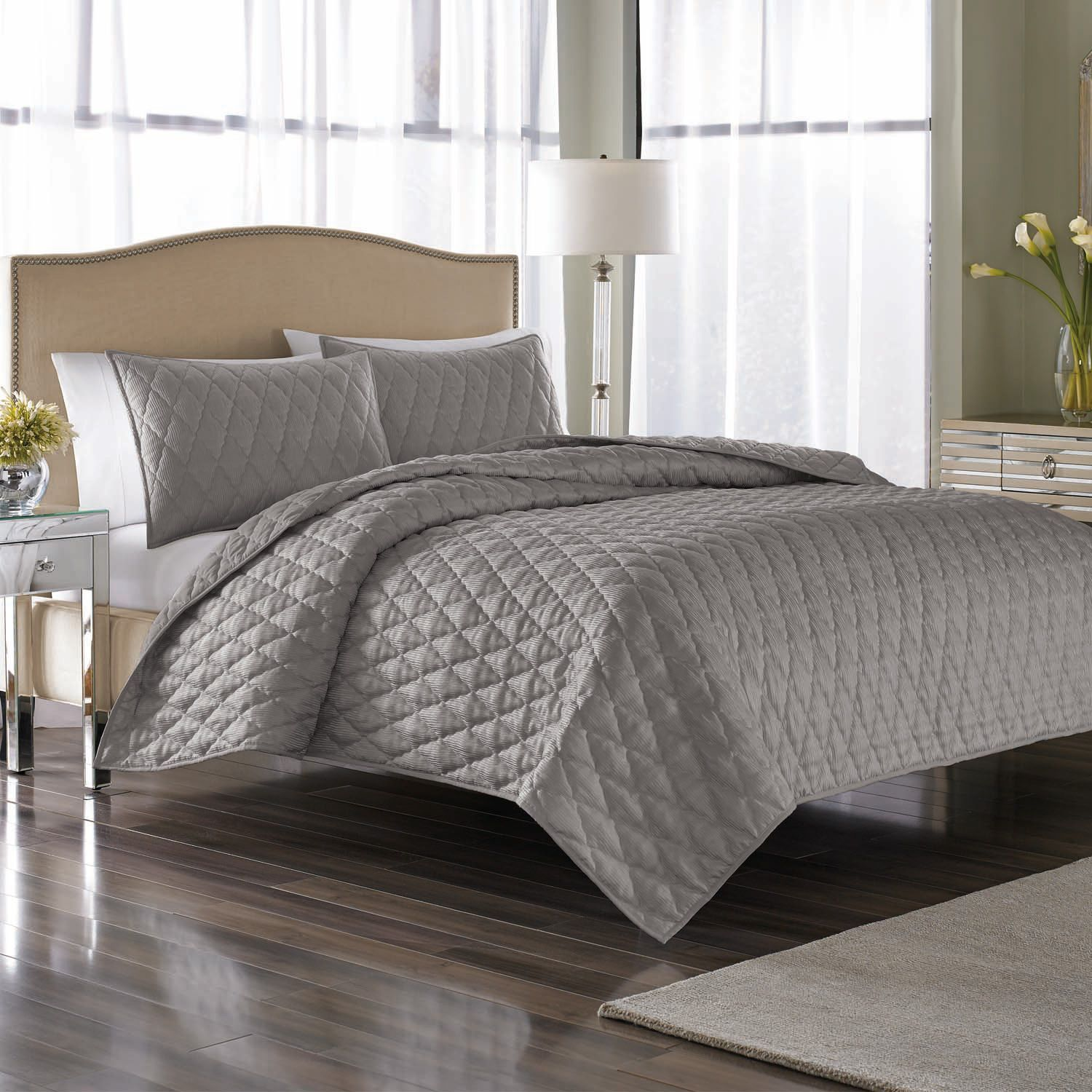 Nicole Miller Serenity Coverlet Set, King (3 pc. set) - Sam's Club